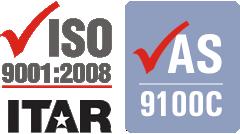 AS9100C, ISO 9001:2008, ITAR Registered
